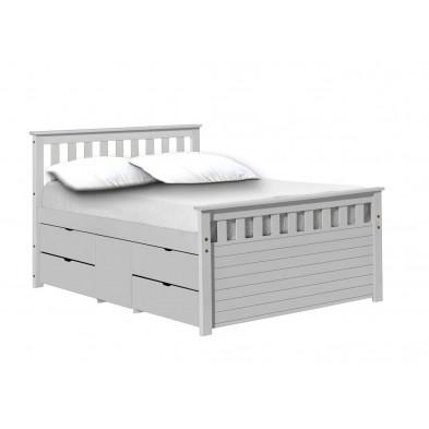 Lit adulte 150 x 200 cm contemporain blanc en bois massif Collection Izel