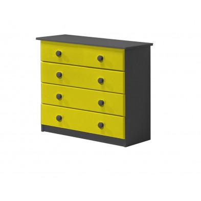Commode contemporaine jaune en bois massif pin  L. 36 x H. 74 cm collection Genoveffa
