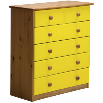 Commode contemporaine jaune en bois massif pin L. 36 x H. 91 cm Collection Genoveffa