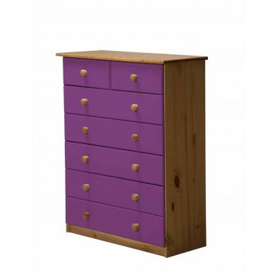 Commode contemporaine violet en bois massif L. 86 x H. 107 cm collection Genoveffa