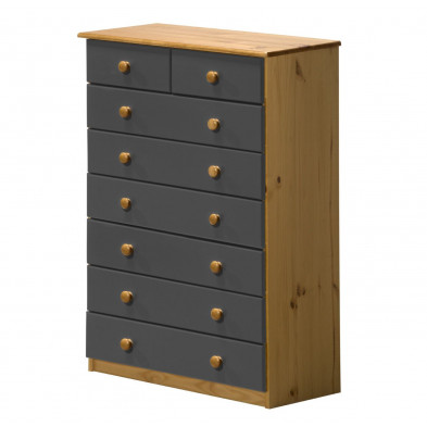 Commode contemporaine gris en bois massif  L. 86 x H. 124 cm collection Genoveffa