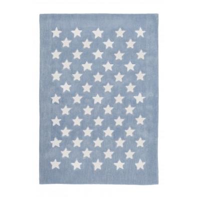 Tapis enfants bleu design tissé à la main en modacrylique L. 170 x P. 120 x H. 1,6 cm collection Cabezas