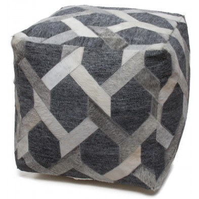 Pouf gris vintage L. 45 x P. 45 x H. 45 cm avec des motifs geometriques collection Wicher