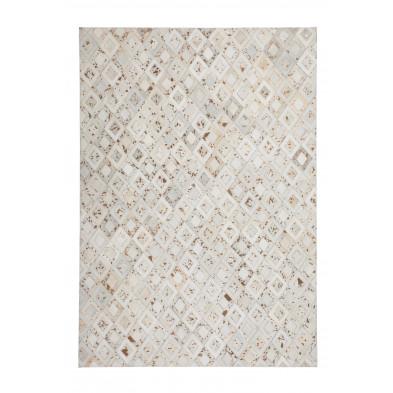 Tapis vintage en cuir véritable beige avec des motifs géométrique L. 150 x P. 80 x H. 0,8 cm Collection Threatening