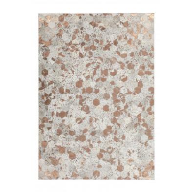 Tapis vintage en cuir véritable beige avec des motifs géométrique L. 230 x P. 160 x H. 0,8 cm Collection Blainelake