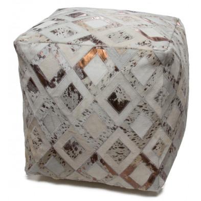 Pouf en cuir véritable beige et blanc vintage L. 45 x P. 45 x H. 45 cm avec des motifs geometriques collection Threatening