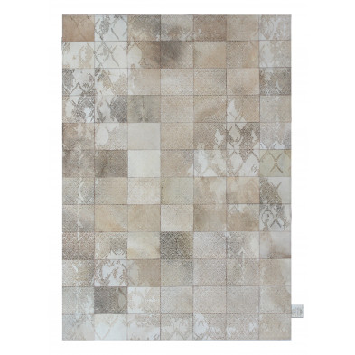Tapis vintage en 50% cuir véritable et 50% polyester beige avec des motifs cubisme L. 180 x P. 125 x H. 1 cm Collection  Breanais