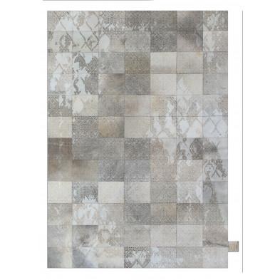 Tapis vintage en 50% cuir véritable et 50% polyester gris avec des motifs cubisme L. 140 x P. 75 x H. 1 cm Collection Breanais