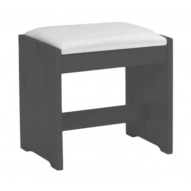 Tabouret avec assise rembourrée contemporain gris L. 46 x H. 46 cm collection Fontane