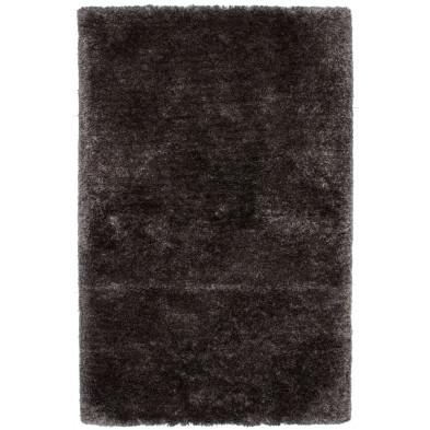 Tapis unicolore argenté moderne tissé à la machine en polyester L. 290 x P. 200 x H. 5,5 cm collection Wechsler