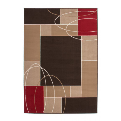 Tapis retro & patchwork marron moderne tissé à la machine en polypropylène L. 170 x P. 120 x H. 1 cm collection Timmerman