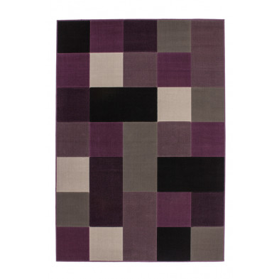Tapis retro & patchwork gris moderne tissé à la machine en polypropylène  L. 150 x P. 80 x H. 1 cm collection Forsake