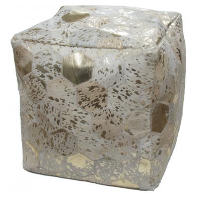 Pouf en cuir véritable beige et doré vintage L. 45 x P. 45 x H. 45 cm avec des motifs géométriques collection Blainelake
