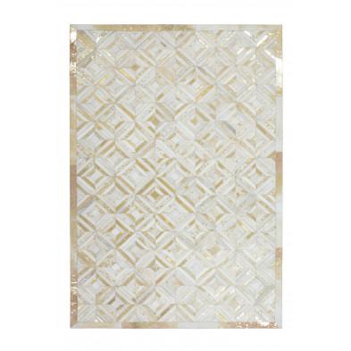 Tapis vintage en cuir véritable beige avec des motifs géométrique  L. 150 x P. 80 x H. 0,8 cm Collection Zeke
