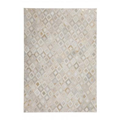 Tapis vintage en cuir véritable beige avec des motifs géométrique L. 230 x P. 160 x H. 0,8 cm Collection Threatening