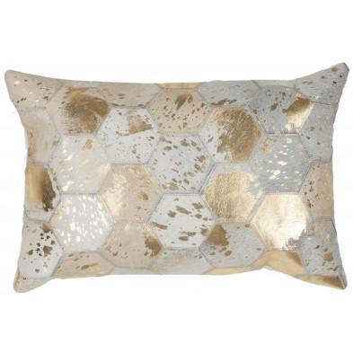 Coussin et oreiller beige vintage tissé à la main en cuir véritable L. 60 x P. 40 x H. 2,5 cm collection Blainelake