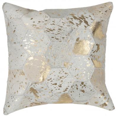 Coussin et oreiller beige vintage tissé à la main en cuir véritable L. 45 x P. 45 x H. 2,5 cm collection Blainelake