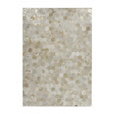 Tapis retro & patchwork beige vintage tissé à la main en cuir véritable L. 150 x P. 80 x H. 0,8 cm collection Blainelake