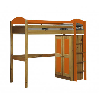 Lit mezzanine 90 x 200 cm  contemporain orange  en bois massif Collection Blakemere