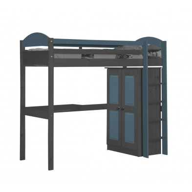 Lit mezzanine 90 x 200 cm contemporain Bleu collection Blakemere