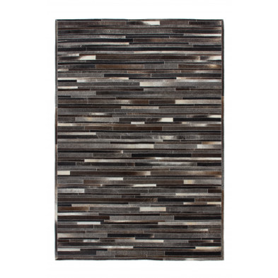 Tapis retro & patchwork gris vintage tissé à la main en cuir véritable L. 230 x P. 160 x H. 0,8 cm  collection Greensburg