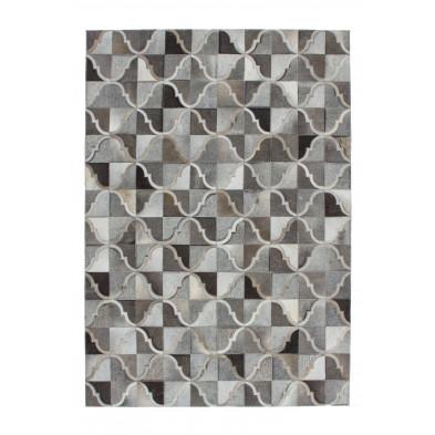 Tapis vintage en cuir véritable gris avec des motifs géométrique L. 170 x P. 120 x H. 0,8 cm Collection Kampman