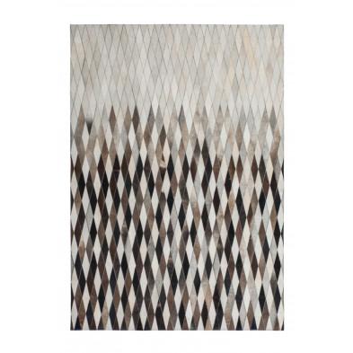 Tapis retro & patchwork beige vintage tissé à la main en cuir véritable L. 170 x P. 120 x H. 0,8 cm collection Dionysius