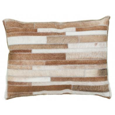 Coussin et oreiller beige vintage tissé à la main en cuir véritable L. 60 x P. 40 x H. 0 cm collection Greensburg