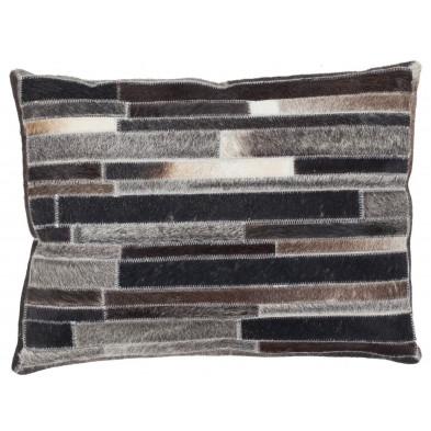 Coussin et oreiller gris vintage tissé à la main en cuir véritable L. 60 x P. 40 x H. 0 cm collection Greensburg