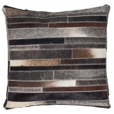 Coussin et oreiller gris vintage tissé à la main en cuir véritable L. 45 x P. 45 x H. 0 cm collection Greensburg