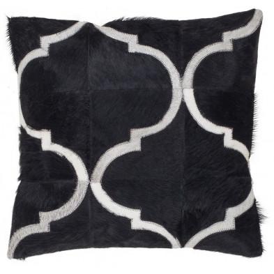 Coussin et oreiller noir vintage tissé à la main en cuir véritable L. 45 x P. 45  cm collection Kampman