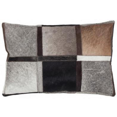 Coussin et oreiller gris vintage tissé à la main en cuir véritable L. 60 x P. 40  cm collection Osinga