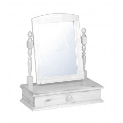 Miroir sur pied contemporain blanc L. 56 x H. 26 cm collection Genoveffa