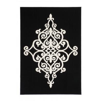 Tapis baroque noir en polypropylène  L. 170 x P. 120 x H. 1 cm Collection Snider