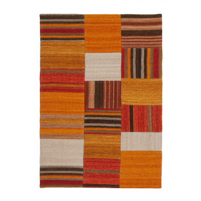Tapis retro & patchwork orange contemporain tissé à la main en 80% laine et 20% coton L. 150 x P. 80 x H. 1,2 cm collection Setteca