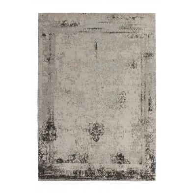 Tapis retro & patchwork gris vintage tissé à la main en 50% coton et 50% polyester chenille L. 150 x P. 80 x H. 1 cm collection Waalre