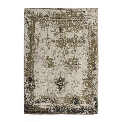 Tapis vintage vert avec des motifs rayé  L. 150 x P. 80 x H. 1 cm Collection Waalre