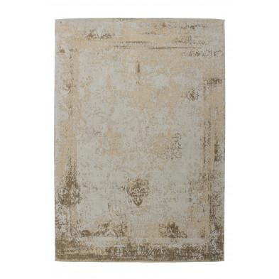 Tapis retro & patchwork beige vintage tissé à la main en 50% coton et 50% polyester chenille  L. 170 x P. 120 x H. 1 cm collection Waalre