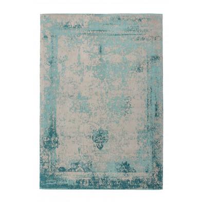 Tapis vintage bleu avec des motifs rayé L. 290 x P. 200 x H. 1 cm Collection Waalre