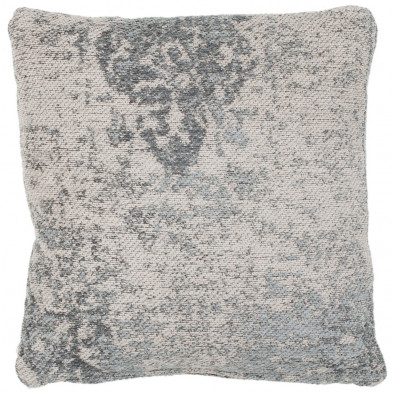 Coussin et oreiller gris vintage tissé à la main en 50% coton et 50% polyester chenille L. 45 x P. 45 cm collection Waalre