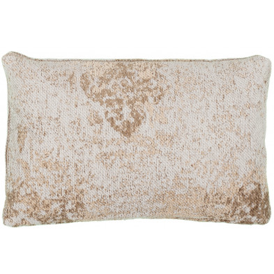 Coussin et oreiller beige vintage tissé à la main en 50% coton et 50% polyester chenille L. 60 x P. 40 x H. 0 cm collection Waalre