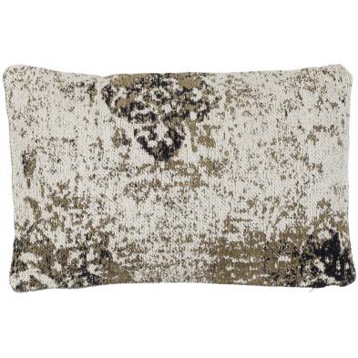 Coussin et oreiller vert vintage tissé à la main en 50% coton et 50% polyester chenille L. 60 x P. 40 cm collection Waalre