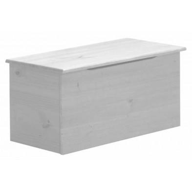 Boîte - panier contemporain blanc en bois massif pin L. 43 x H. 41 cm collection Genoveffa