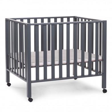 Parc bébé design gris en bois massif hêtre et bois MDF 75 x 95 cm  Collection Harrison