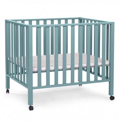Parc bébé avec roues design vert en bois massif hêtre et bois MDF 75 x 95 cm Collection Livramento
