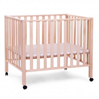 Parc bébé avec roues design beige en bois massif hêtre et bois MDF 75 x 95 cm Collection Roby