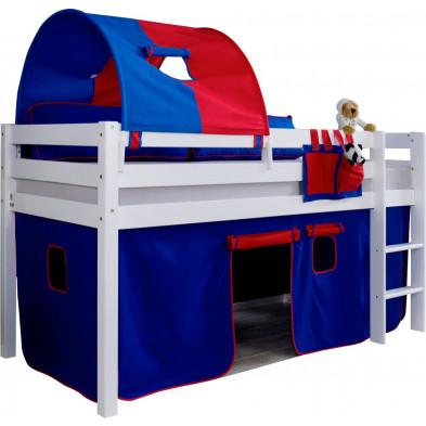 Lit enfant surélevé  avec 1 tunnel + 1 tente de jeu contemporain blanc en bois massif hêtre 90x200 Collection Enderlin