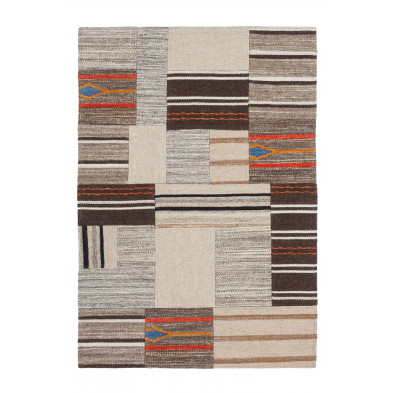 Tapis retro & patchwork beige contemporain tissé à la main en 80% laine et 20% coton L. 150 x P. 80 x H. 1,2 cm collection Setteca
