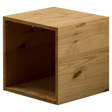 Boîte - panier marron contemporain en bois massif L. 35,5 x H. 35,5 cm pin collection Vladimir
