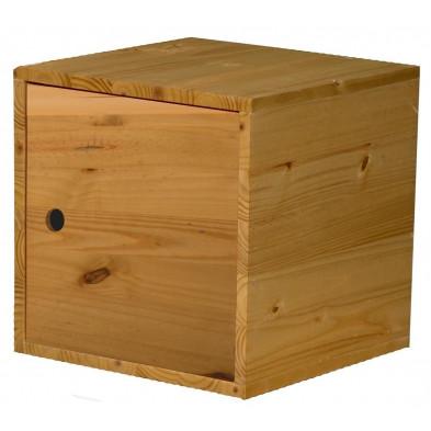 Boîte - panier marron contemporain en bois massif pin L. 35,5 x H. 35,5 cm collection Vladimir
